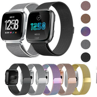 For Fitbit Versa Milanese Loop Mesh Wrist Watch Strap Stainless Steel Wrist Band