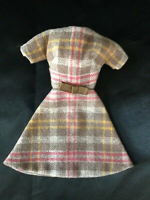 1960s Clone Outfit #13 - Beautifully made Brown Plaid Wool Dress w/ Little Bow