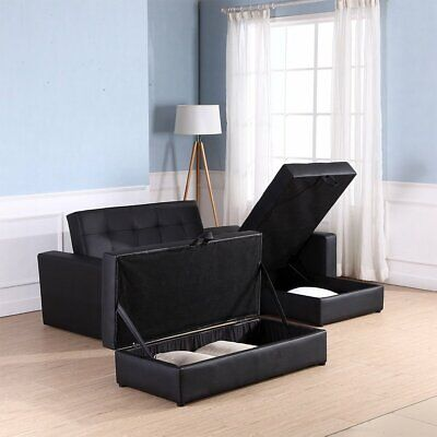 Sofa Bed 3 Seater Foldable Storage Sectional Functional Storage Furniture Brown