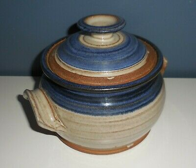 Hand Crafted Pottery Dish Pot with Lid & Handles Blue Brown Tan Beautiful Unique