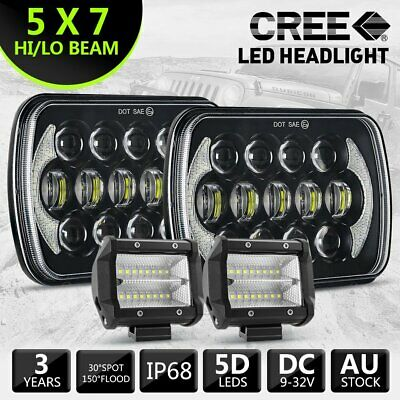 2Pcs Hilux Led Upgrade Head Light 5X7Inch Headlight Replacement Hi/Lo + 2X 4Inch