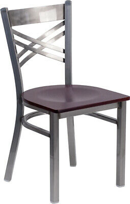 (10 PACK) Clear Coated ''X'' Back Metal Restaurant Chair with Mahogany Wood Seat