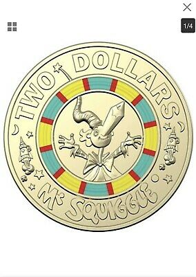"""2019 $2 Coin """" Mr Squiggle"""" 60th Anniversary of Mr Squiggle and Friends Coloured"""