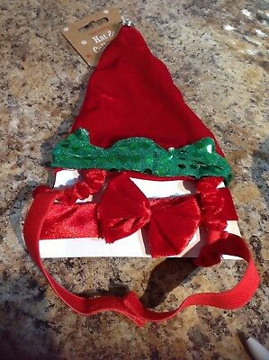 Dog Christmas Outfit Elf Hat And Bowtie Collar Small Dog Size Brand New