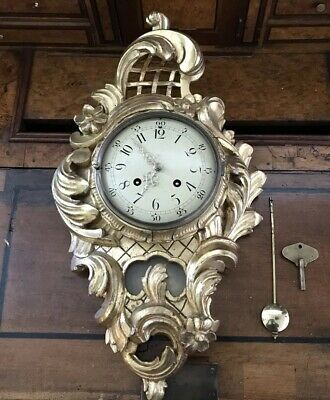 20Th Century Swedish Gilt Carved Wood Wall Clock By Westerstrand Cartel Clock