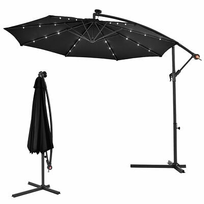 3m Outdoor LED Parasol Solar Patio Banana Cantilever Hanging Sun Umbrella Black