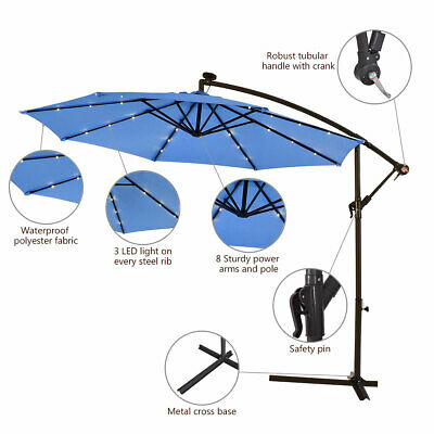 3m Outdoor LED Parasol Solar Patio Banana Cantilever Hanging Sun Umbrella Blue