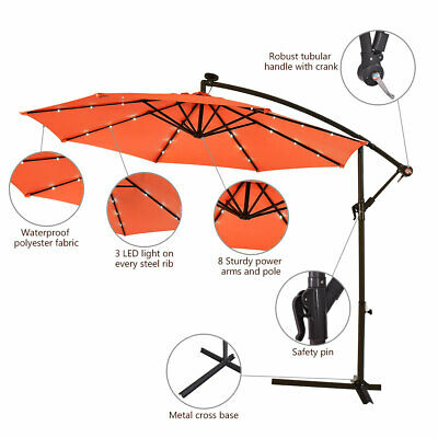 3m Outdoor LED Parasol Solar Patio Banana Cantilever Hanging Sun Umbrella Orange