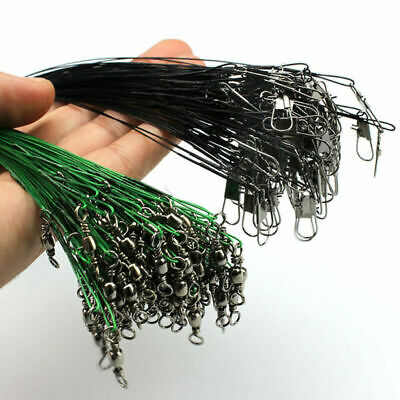 20pcs Stainless Steel Fishing Trace Lure Leader Wire Spinner Hook 15/20/25/30 CM