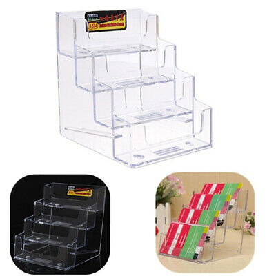 Acrylic Clear Business Card Holder Office Desk Stand Box Display 4 Pocket Hot