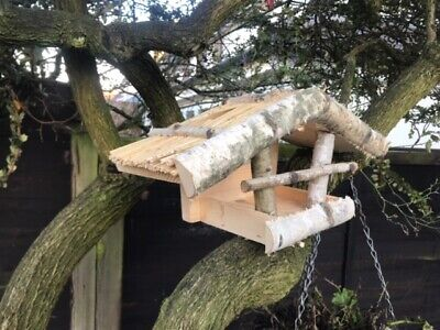 Handmade Hanging Wooden Natural Birch Wood Bird Feeder House Table Station