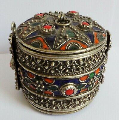 Antique Chinese Filigree & Enamel & Cabouchon Box / Bracelet  - Pin - Must See