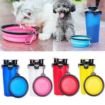 Folding Dog Cat Feeder Water Bottle Travel Drinking Bowl Food Dish Cup Container