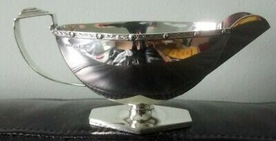Pretty Art Deco style George VI sterling silver sauce boat by Ernest W Haywood