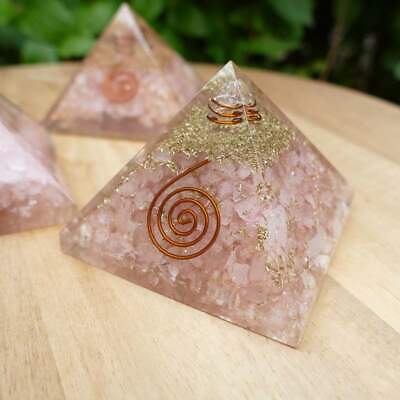 Extra Large LG 65 mm Rose Orgone Pyramid Feng Shui EMF Protection