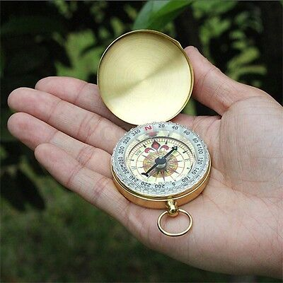 Vintage Brass Noctilucent Pocket Mini Compass Hiking Camping Watch Retro Style
