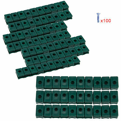 100 PCS Garden Fence Tension Wire Cord Holder with Screw Plastic Green