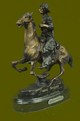 """Cowboy,"" by Frederic Remington, Hand Cast Bronze on Bevelled Marble Base Decor"
