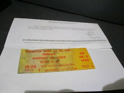 ORIGINAL WOODSTOCK TICKET August 15, 1969 Friday 1st day  Peace Love Music Y5