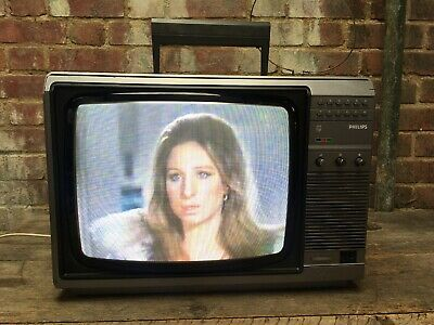 Vintage Philips 13' Television Portable Colour TV Monitor Retro Gaming Working