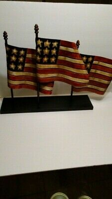 Metal Tin American 3 Flag Sculpture on base