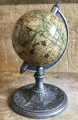 Small Unusual Vintage Desk Table World Rotating Globe On Cast Metal Stand