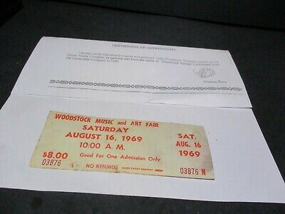 ORIGINAL WOODSTOCK TICKET August 16, 1969 Saturday (2nd day) Peace Love  Y8