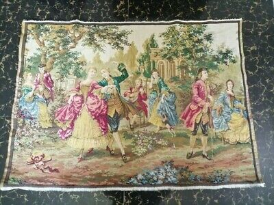 "Antique 19c Aubusson French Tapestry Beautiful Color Race View  35""x25(cm89x63)"