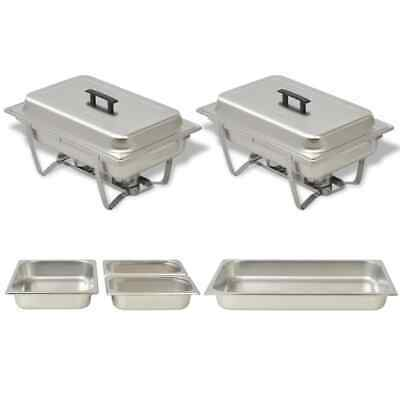 2 PCS Chafing Dish Set Stainless Steel Buffet Catering Dish Pan Food Warmer CHIC