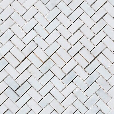 CALACATTA VEIN HONED WHITE MARBLE HERRINGBONE Mosaic Wall & Floor Tiles 23x48x10