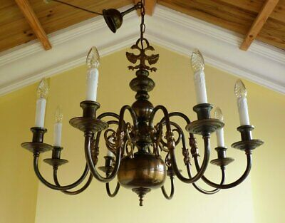 Antique Vintage Brass Flemish Chandelier 8 lamp ceiling light French Chic