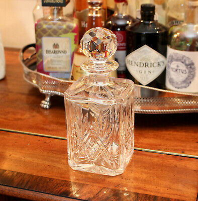 A Good Heavy Square Base Glass Spirit Decanter