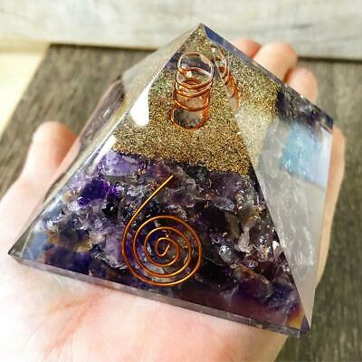 Extra Large LG 70mm Amethyst Orgone Crown Chakra Pyramid EMF Protection FengShui