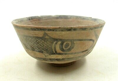Authentic Ancient Indus Valley Terracotta Bowl W/ Fish Motif - L756