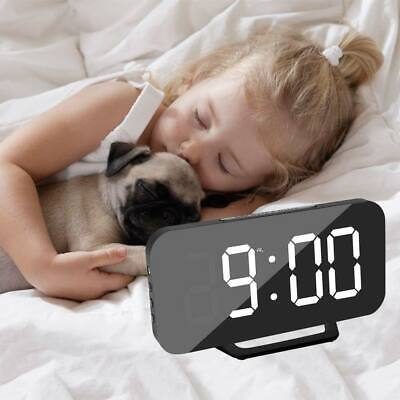 USB LED Digital Table 3D Wall Clock Big Display Alarm Clock Brightness Dimmer UK