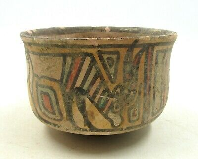 Authentic Ancient Indus Valley Terracotta Bowl W/ Lion & Deer Motif - L757