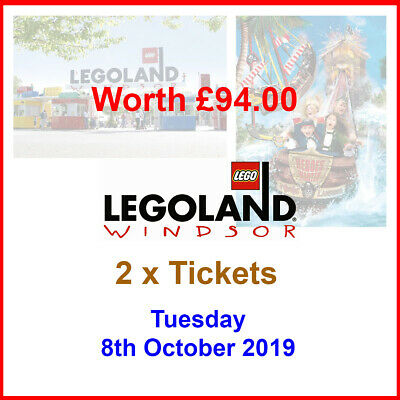 2 x LEGOLAND WINDSOR Tickets - Valid Tues 8th Oct 2019 (08/10/2019) - Worth £94