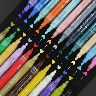 New 24X Acrylic Paint Pens Fine Art Marker Pen Metal Glass Rock Waterproof Set