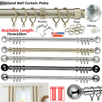 CHROME Extendable Metal Curtain Pole Poles 28mm Includes Finials Rings Fittings