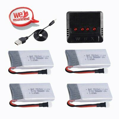 4 pcs 3.7V 500mAh 25C Lipo Battery with DC5V 1S RC Charger for RC Helicopter MY