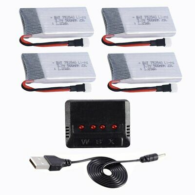 4PCS 3.7V 500mAh 25C Li-po Battery 4 in 1 Charger for RC Drone Quadcopter MY