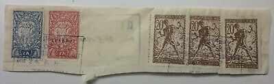 YUGOSLAVIA SLOVENIA 1920 multi-stamped piece Zemunu Land Registry cachet to rear