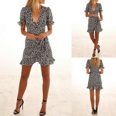 Women Boho Floral Printed Short Sleeve V-Neck Summer Dress Beach Ruffled SkirtCA