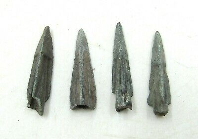 Authentic Lot Of 4 Ancient Scythian Bronze Arrow Heads - J252