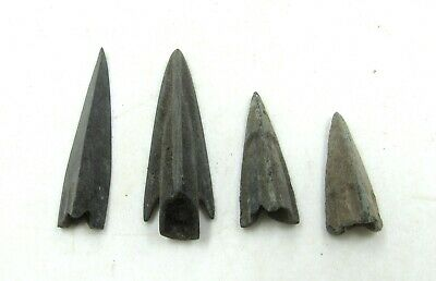 Authentic Lot Of 4 Ancient Scythian Bronze Arrow Heads - J253