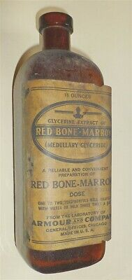 Antique medicine bottle Armour Labs Chicago Red Bone Marrow Glyceride Quack