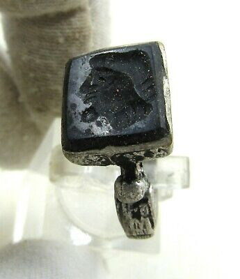 Authentic Post Medieval Era Silver Ring W/ Intaglio Stone Bust - J270