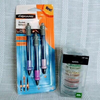 "Fiskars 3 pc Eyelet Setters NEW w 1/8"" Eyelets Multicolor Pack Craft Art Supply"