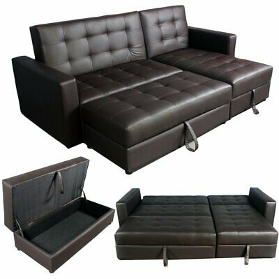 Leather Corner Sofa Bed With Storage Ottoman Couch Recliner