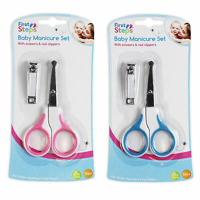 First Steps Baby Manicure Set - Scissors & Nail Clippers - Choose Colour